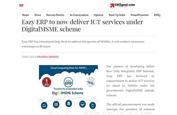 Eazy ERP, DigitalMSME scheme got a great response at Annapoorna Media Coverage, SME Post,
