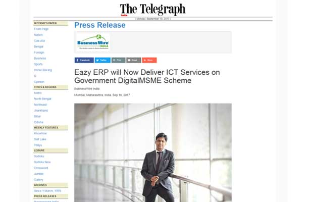 Eazy ERP will Now Deliver ICT Services on Government DigitalMSME Scheme, coverage in The Telegraph